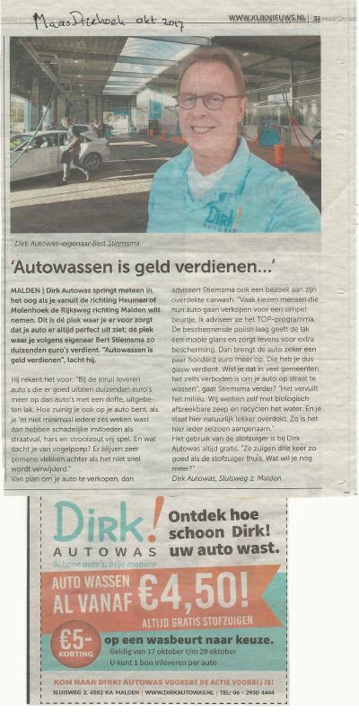 Dirk Autowas krantenbericht MaasDriehoek oktober 2017